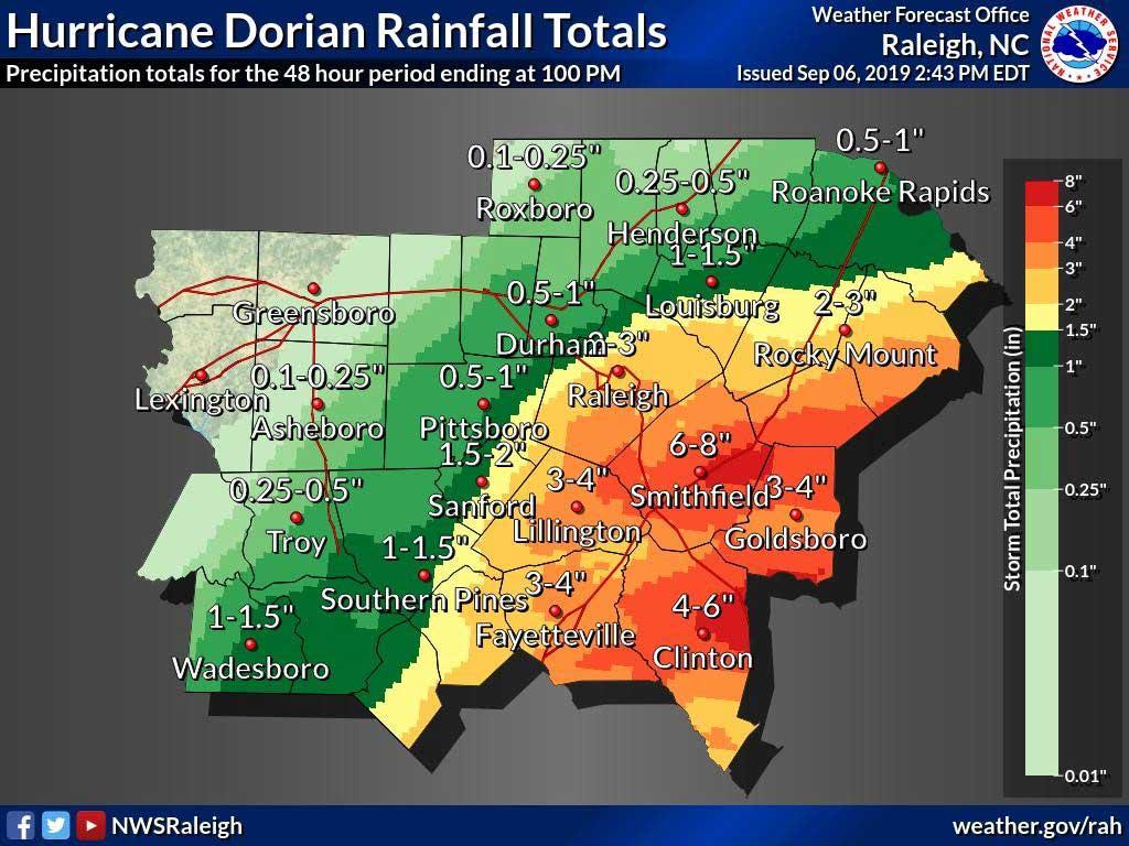 Hurricane Dorian rainfall totals